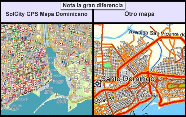 La comparacion de los GPS Mapa Santo Domingo (de SolCity) con otra compania
