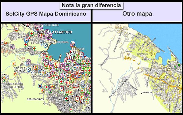 Los Mapa GPS Dominicana de SolCity tienen todas las ciudades, con nombres de las calles, en el ejemplo esta el mapa Puerto Plata