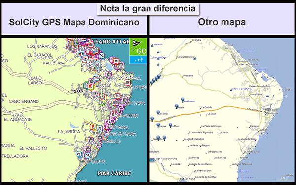 Nuestros mapas GPS de Republica Dominicana tienen mas de 120 mil calles dibujadas, en el ejemplo esta Mapa Bavaro y Mapa Punta Cana